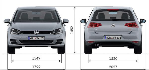 volkswagen golf mk7 uk exterior interior dimensions. Black Bedroom Furniture Sets. Home Design Ideas